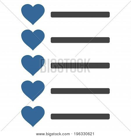 Favourites List flat icon. Vector bicolor cobalt and gray symbol. Pictograph is isolated on a white background. Trendy flat style illustration for web site design, logo, ads, apps, user interface.