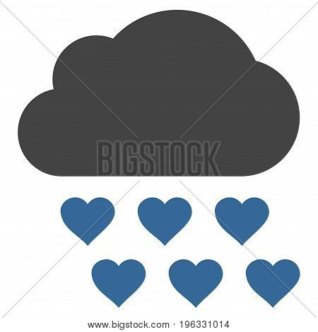 Love Rain Cloud flat icon. Vector bicolor cobalt and gray symbol. Pictogram is isolated on a white background. Trendy flat style illustration for web site design, logo, ads, apps, user interface.