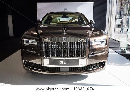 BERLIN - MARCH 08 2015: Showroom. Full-size luxury car Rolls-Royce Ghost. Rolls-Royce Motor Cars Limited global manufacturer of luxury cars.
