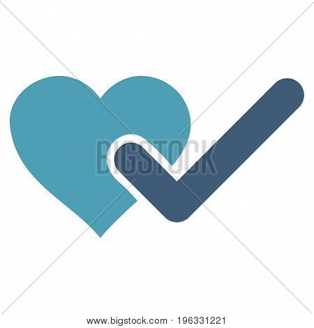 Checked Love Heart flat icon. Vector bicolor cyan and blue symbol. Pictograph is isolated on a white background. Trendy flat style illustration for web site design, logo, ads, apps, user interface.