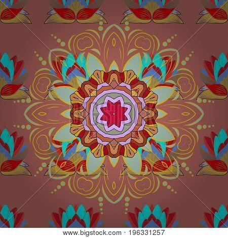 Colored stickers flash temporary tattoo mehndi and yoga design boho magic symbol. Invitation wedding card scrapbooking. Colored over. Vintage vector pattern. Decorative ornate round mandala.