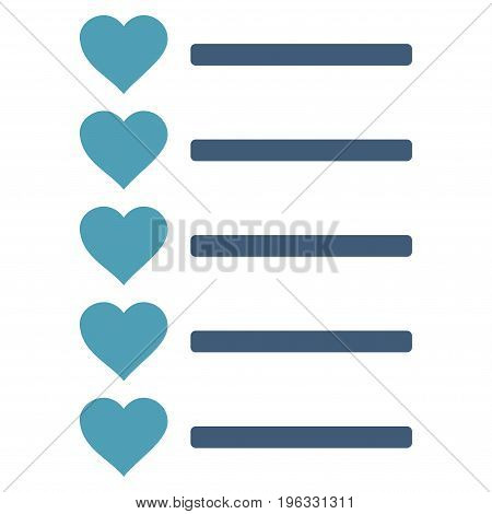 Favourites List flat icon. Vector bicolor cyan and blue symbol. Pictogram is isolated on a white background. Trendy flat style illustration for web site design, logo, ads, apps, user interface.