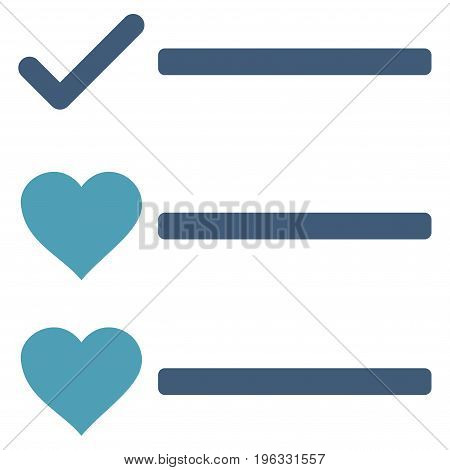 Love List flat icon. Vector bicolor cyan and blue symbol. Pictograph is isolated on a white background. Trendy flat style illustration for web site design, logo, ads, apps, user interface.
