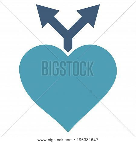 Love Variants flat icon. Vector bicolor cyan and blue symbol. Pictogram is isolated on a white background. Trendy flat style illustration for web site design, logo, ads, apps, user interface.
