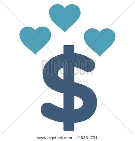 Lovely Dollar flat icon. Vector bicolor cyan and blue symbol. Pictogram is isolated on a white background. Trendy flat style illustration for web site design, logo, ads, apps, user interface.