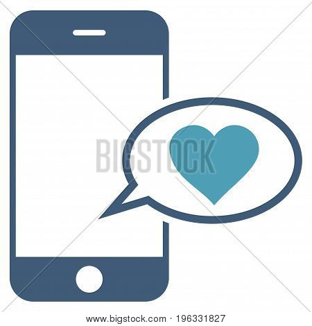 Smartphone Love Message flat icon. Vector bicolor cyan and blue symbol. Pictogram is isolated on a white background. Trendy flat style illustration for web site design, logo, ads, apps,