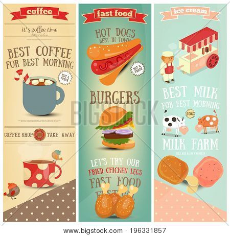 Coffee Fast Food Ice Cream Vertical Banners Set. Vector Illustration.