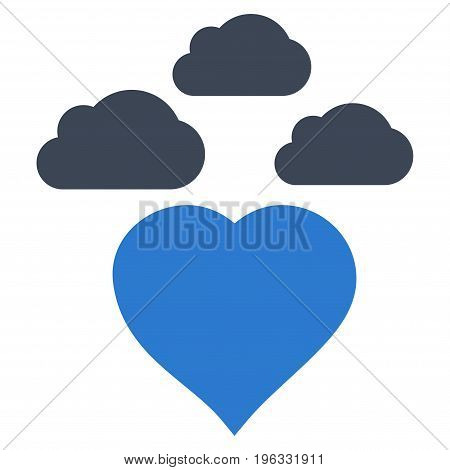 Cloudy Love Heart flat icon. Vector bicolor smooth blue symbol. Pictogram is isolated on a white background. Trendy flat style illustration for web site design, logo, ads, apps, user interface.