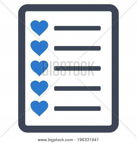 Favourites List Page flat icon. Vector bicolor smooth blue symbol. Pictogram is isolated on a white background. Trendy flat style illustration for web site design, logo, ads, apps, user interface.