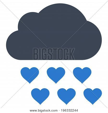 Love Rain Cloud flat icon. Vector bicolor smooth blue symbol. Pictograph is isolated on a white background. Trendy flat style illustration for web site design, logo, ads, apps, user interface.