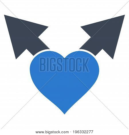 Love Variant Arrows flat icon. Vector bicolor smooth blue symbol. Pictogram is isolated on a white background. Trendy flat style illustration for web site design, logo, ads, apps, user interface.