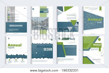 Business Brochure cover design set with blured photo and simple shapes. Minimalistic design of annual repport