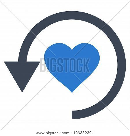 Refresh Love flat icon. Vector bicolor smooth blue symbol. Pictogram is isolated on a white background. Trendy flat style illustration for web site design, logo, ads, apps, user interface.