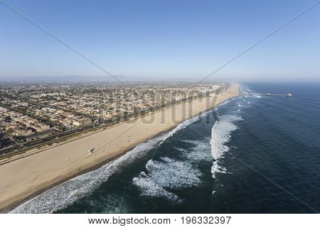 Aerial view of Huntington Beach in Southern California.