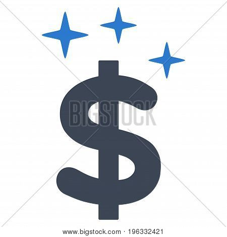 Sparkle Dollar Symbol flat icon. Vector bicolor smooth blue symbol. Pictogram is isolated on a white background. Trendy flat style illustration for web site design, logo, ads, apps, user interface.