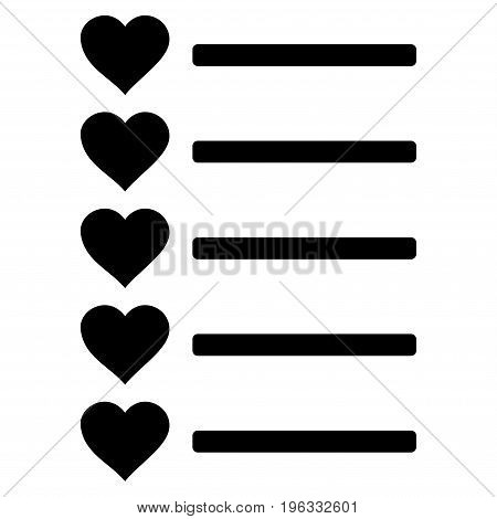 Favourites List flat icon. Vector black symbol. Pictogram is isolated on a white background. Trendy flat style illustration for web site design, logo, ads, apps, user interface.