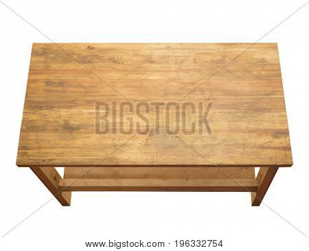 Used wooden tabletop isolated on white. View from above.
