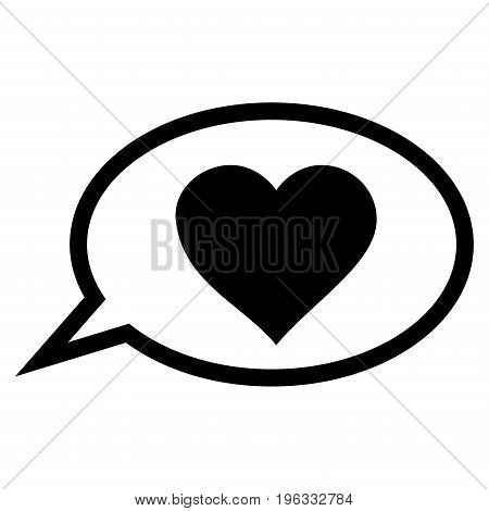 Love Message Balloon flat icon. Vector black symbol. Pictogram is isolated on a white background. Trendy flat style illustration for web site design, logo, ads, apps, user interface.
