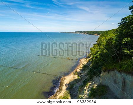 Baltic Sea shore landscape at summer time near Svetlogorsk