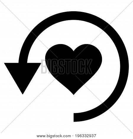 Refresh Love flat icon. Vector black symbol. Pictograph is isolated on a white background. Trendy flat style illustration for web site design, logo, ads, apps, user interface.