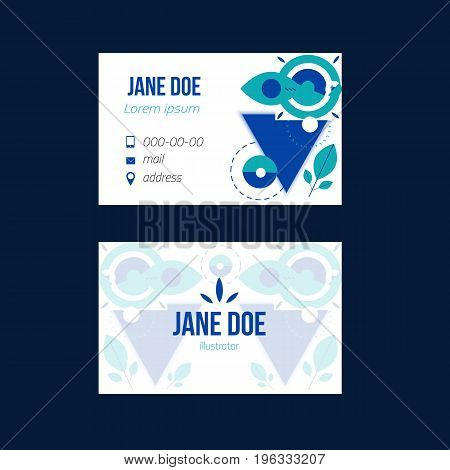 Simple blue business card design for your promotion in trendy scandinavian style with geometric shapes.