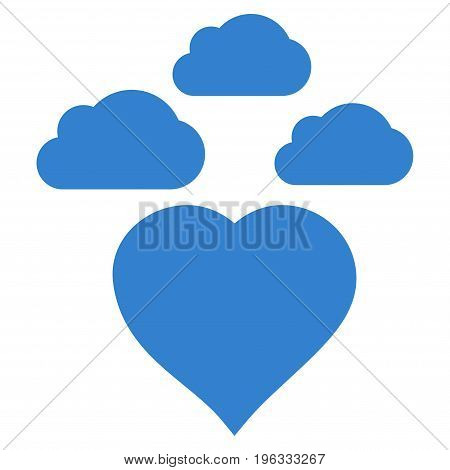 Cloudy Love Heart flat icon. Vector cobalt symbol. Pictogram is isolated on a white background. Trendy flat style illustration for web site design, logo, ads, apps, user interface.