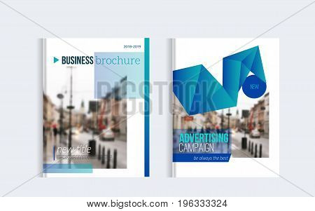 Business Brochure cover design with blured photo and simple shapes. Minimalistic design of annual report