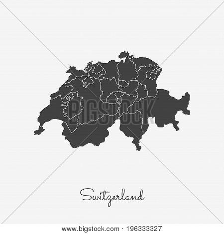 Switzerland Region Map: Grey Outline On White Background. Detailed Map Of Switzerland Regions. Vecto