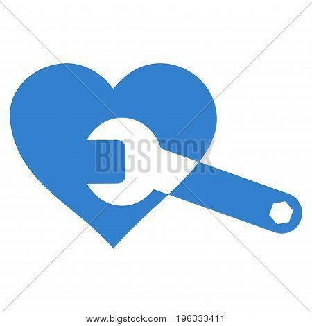 Heart Surgery Wrench flat icon. Vector cobalt symbol. Pictograph is isolated on a white background. Trendy flat style illustration for web site design, logo, ads, apps, user interface.