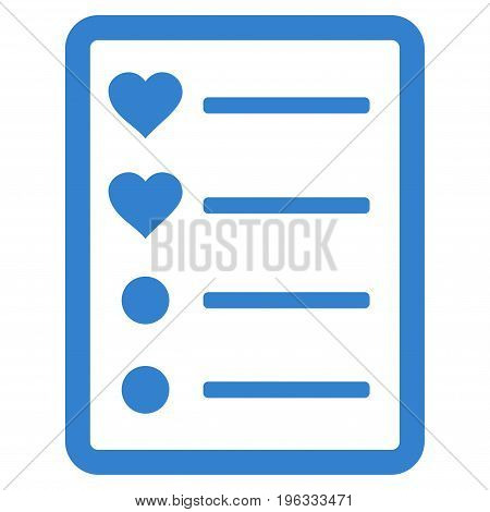Love List Page flat icon. Vector cobalt symbol. Pictograph is isolated on a white background. Trendy flat style illustration for web site design, logo, ads, apps, user interface.