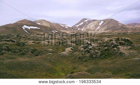 The Laugavegur trail from landmannalaugar through The Rainbow Mountains on iceland