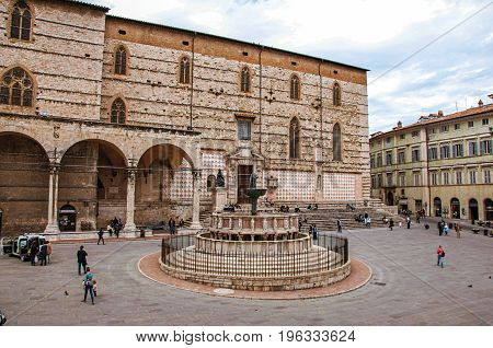 Perugia, Italy - May 15, 2013. Overview of square and old building in the city center of Perugia, a historic and tourist city famous for its cultural agenda. Located in Umbria region, central Italy