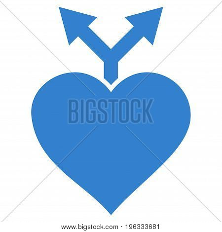 Love Variants flat icon. Vector cobalt symbol. Pictograph is isolated on a white background. Trendy flat style illustration for web site design, logo, ads, apps, user interface.
