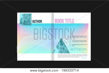 Brochure cover design with icons and blured photo background for your business. Book layout design.