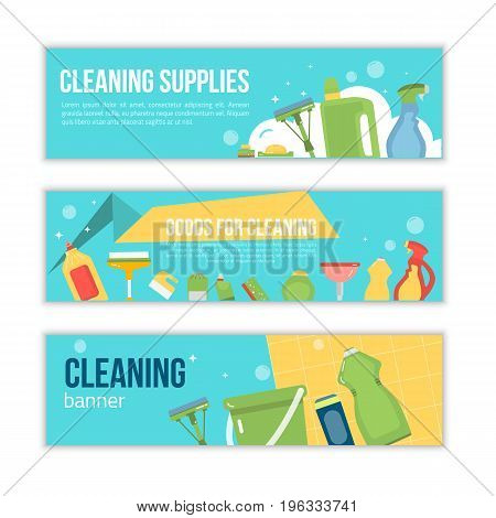Cleaning service promotion illustration. Banner design for cleaning supply sales or office cleaning services vector illustration.