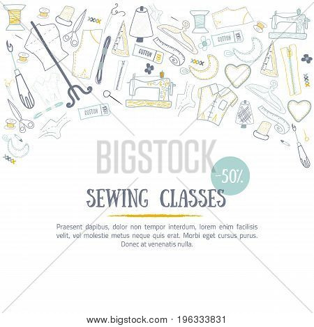 Sewing classes banner design with needle and craft tools. Hobby elements for creative industry design.