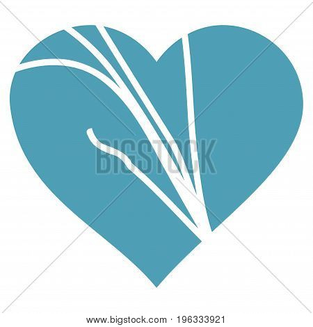 Damaged Love Heart flat icon. Vector cyan symbol. Pictograph is isolated on a white background. Trendy flat style illustration for web site design, logo, ads, apps, user interface.