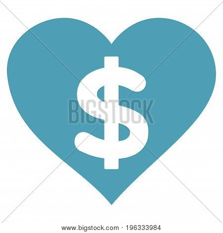 Paid Love flat icon. Vector cyan symbol. Pictograph is isolated on a white background. Trendy flat style illustration for web site design, logo, ads, apps, user interface.