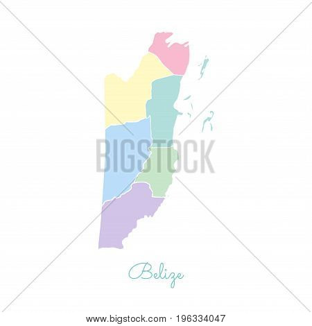 Belize Region Map: Colorful With White Outline. Detailed Map Of Belize Regions. Vector Illustration.