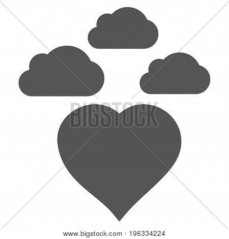 Cloudy Love Heart flat icon. Vector gray symbol. Pictogram is isolated on a white background. Trendy flat style illustration for web site design, logo, ads, apps, user interface.