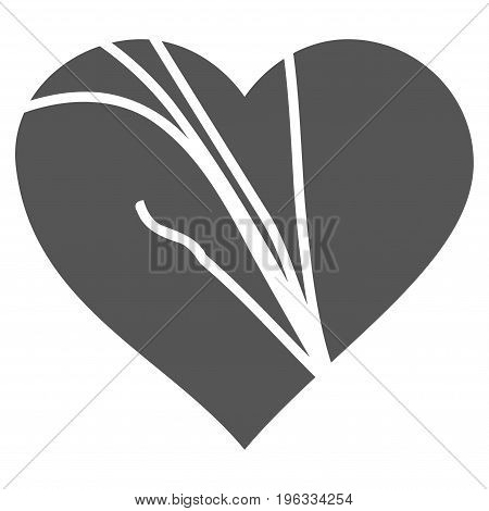 Damaged Love Heart flat icon. Vector gray symbol. Pictogram is isolated on a white background. Trendy flat style illustration for web site design, logo, ads, apps, user interface.