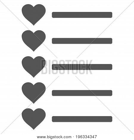 Favourites List flat icon. Vector gray symbol. Pictograph is isolated on a white background. Trendy flat style illustration for web site design, logo, ads, apps, user interface.