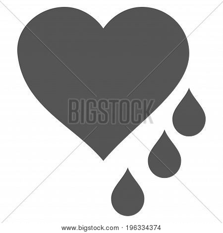 Heart Blood Drops flat icon. Vector gray symbol. Pictograph is isolated on a white background. Trendy flat style illustration for web site design, logo, ads, apps, user interface.