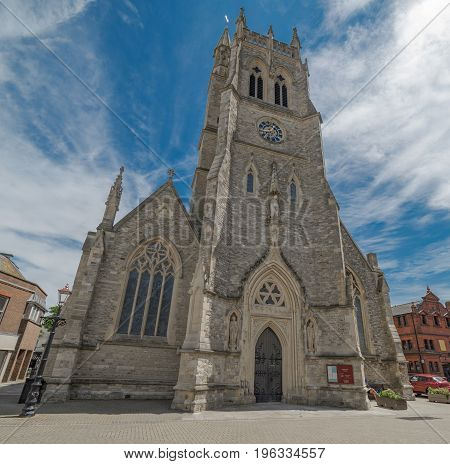 St Thomas Church in Newport town centre on the Isle of Wight, UK