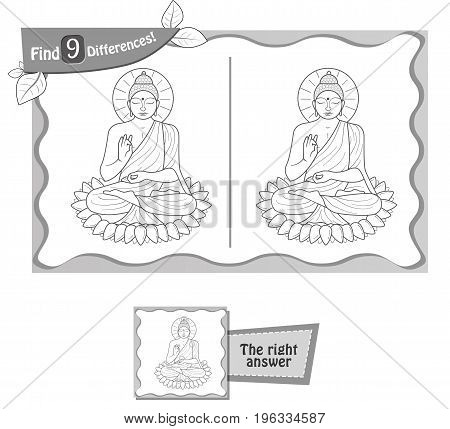 Find 9 Differences Game Buddha