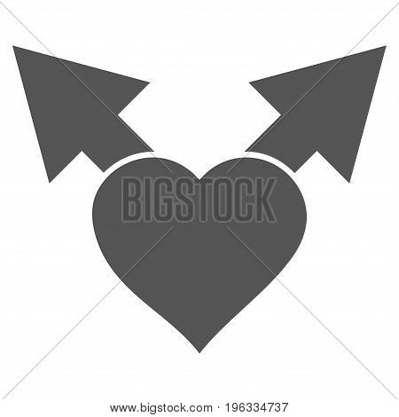 Love Variant Arrows flat icon. Vector gray symbol. Pictogram is isolated on a white background. Trendy flat style illustration for web site design, logo, ads, apps, user interface.