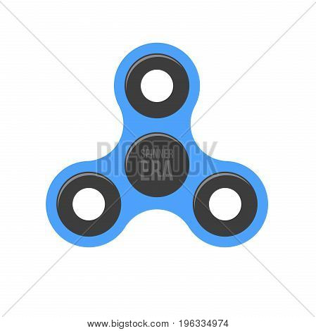 Spinner era. A modern anti-stress toy in a flat style. A toy for hands and fingers. Blue color. Isolated on white background. High speed and wind. Bearing system. Vector illustration
