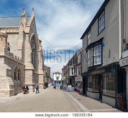Newport, Isle of Wight, UK. 13th July 2017. The streets and lanes of Newport on the Isle of Wight on a warm summer's day. Newport is the county town and 'capital' of the Island.