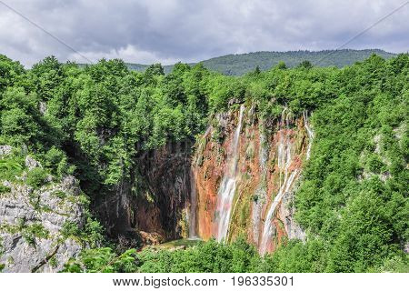 View of the Big Waterfall. National Park Plitvice Lakes. Croatia.