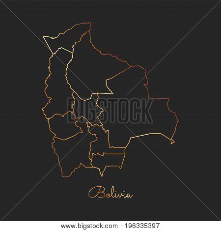 Bolivia Region Map: Golden Gradient Outline On Dark Background. Detailed Map Of Bolivia Regions. Vec